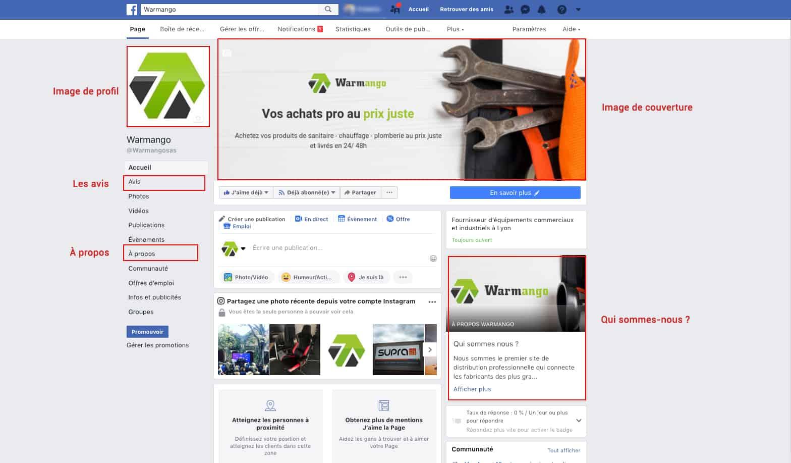 Page facebook pour trouver des chantiers de plomberie