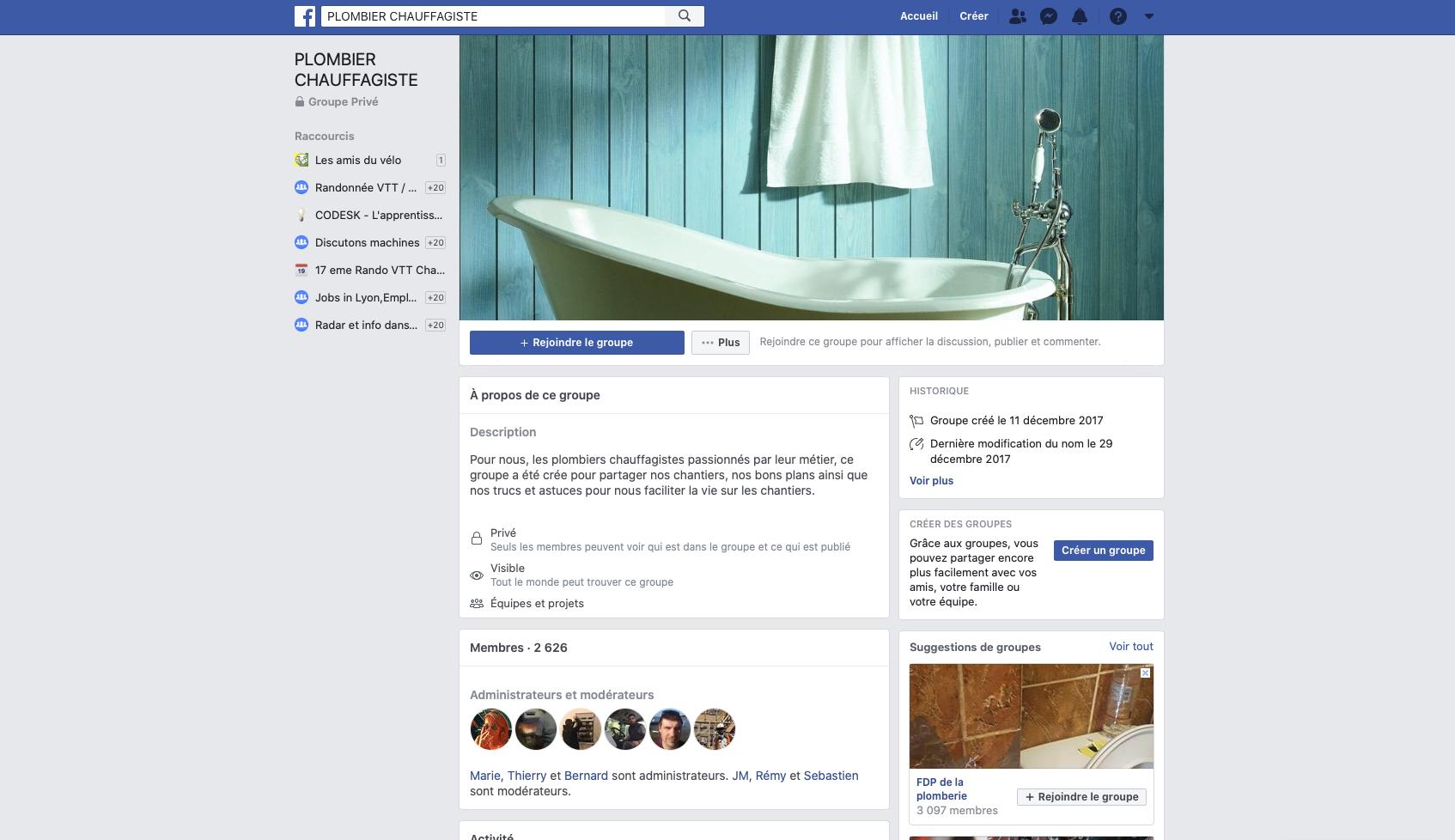 groupes facebook de plombiers chauffagistes