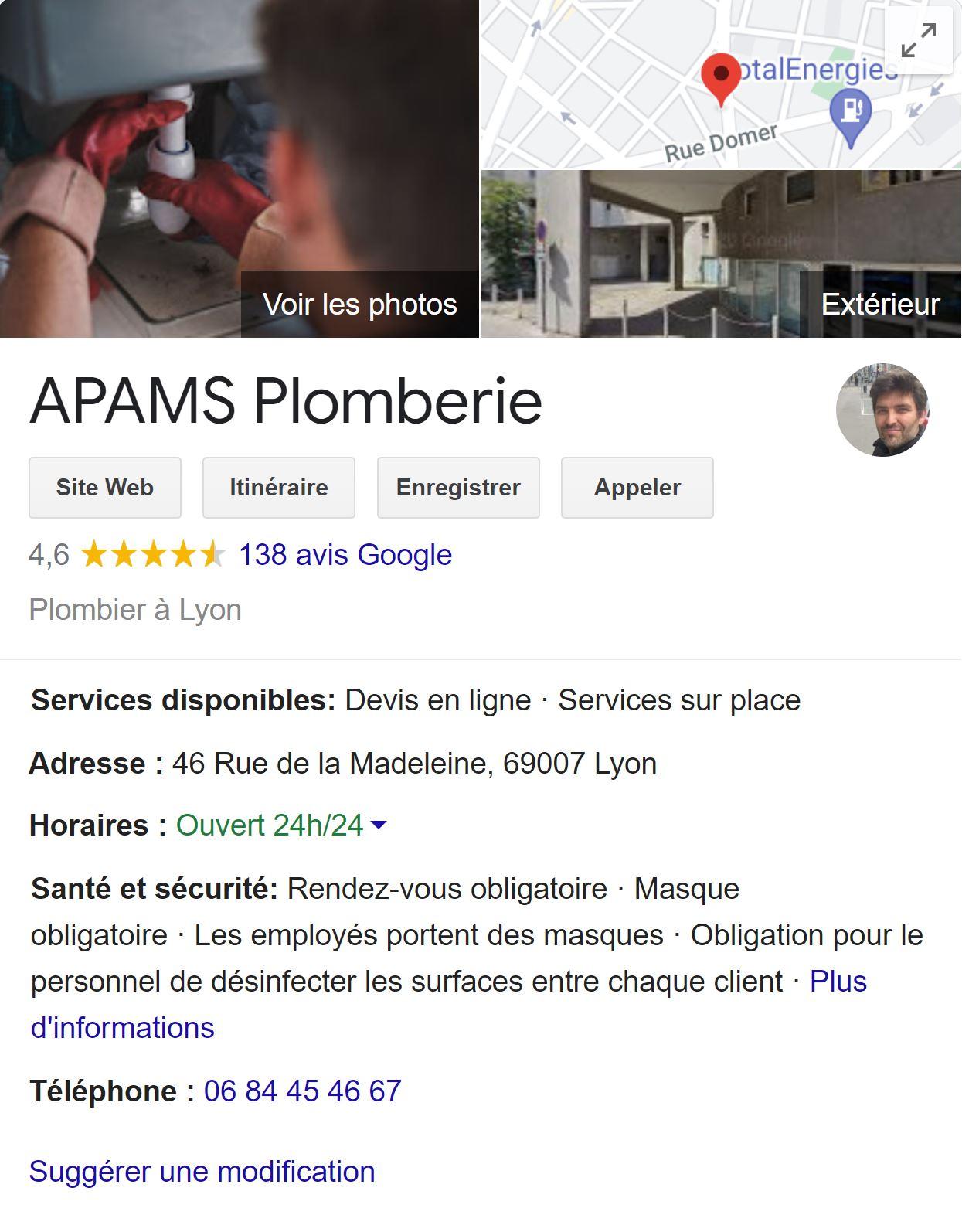 fiche_Google_My_Business_Plombier_Lyon_Warmango